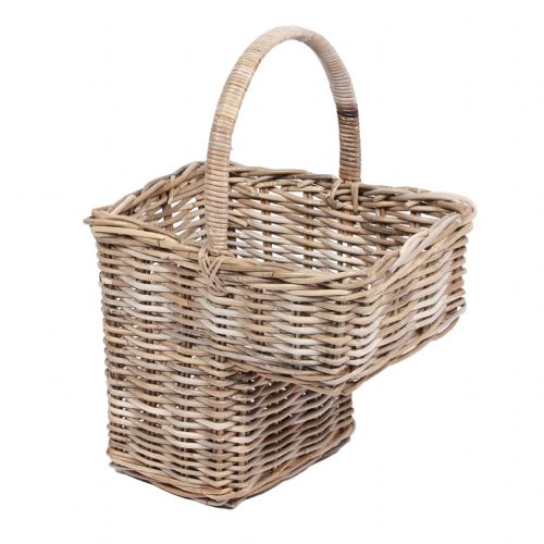 Step Basket with High Handle in Kooboo Grey